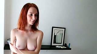 Bosomy red haired harlot deep throats big thick cock ardently