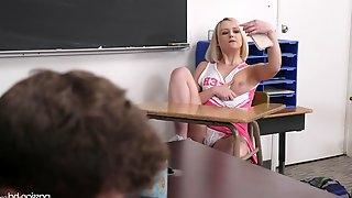 Blonde college cheerleader Natalia Queen seduces her naughty professor