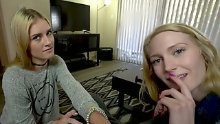Mazzy Grace invites nasty girlfriend to blow huge dick of her perverted stepdad