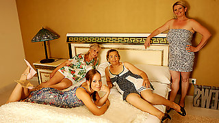 Four Old And Young Lesbians Having A Special Party - MatureNL