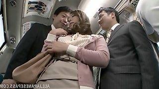 Asian hooker Minori Hatsune fucked in MMF threesome on a public bus