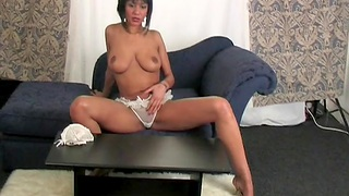 Home alone Evey films herself to the fullest riding a dildo on the sofa