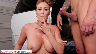 Short hair MILF Ryan Keely wants to be fucked good and eats cum