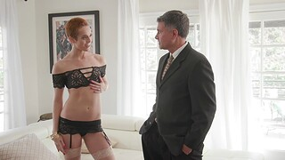 Short haired Sidra Sage enjoys sucking and riding a thick detect