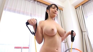 Flexible Japanese solo model Hanyuu Arisa loves working at large naked