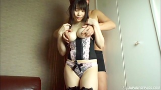 Natural boobs Japanese girl moans during passionate sex in doggy