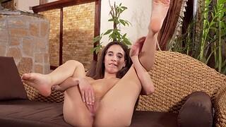 Oversexed solo girl Kitty Fox enjoys masturbating while home alone