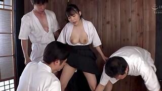 Shy Japanese chick Kawai Asuna gets fucked hard by a handful of dudes