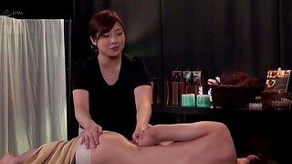 Chubby Japanese toddler moans while being fucked on a rub down table