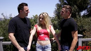 Passionate MMF threesome with small boobs hottie Katie Kennedy
