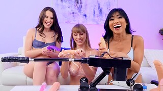 Aubree Valentine and two hot lesbians leman with machines