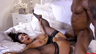Large fundament and tits MILF Raven Constituent gets fucked by a black dude